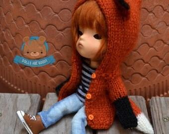 PRE-ORDER! Fox cardigan, knit jacket, coat for Person Secretdoll and Pukifee Lati Yellow, Mui Chan ENYO Lati Yellow Middie Blythe Nappy Choo
