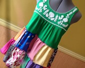 Sale was 40.00 - Harry and The Hippe Chic One of A Kind Patchwork Tunic Embroidered Tank Top