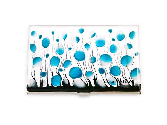 Business Card Case in Hand Painted Enamel Turquoise and White Metal Wallet Personalized and Custom Color Options