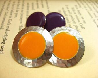 Pierced Earrings, Set of Earrings, Coordinating Jewelry, Orange and Purple, Purple and Orange, Hammered Metal Earrings, Sunshine Jewelry