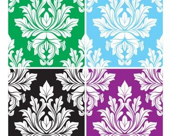 4 Damask Pattern Vectors Background-Digital Immediate Download-ClipArt-Art Clip-Digital