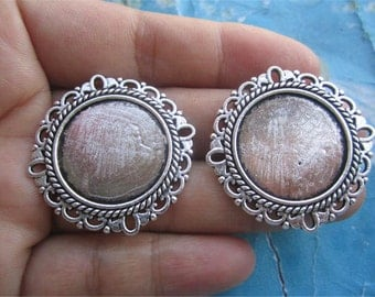 10pcs 30mm antiqued Silver round flower cameo/cabochon base setting charms(fit 20mm caochons)