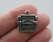 4 Typewriter charms antique silver tone PT21