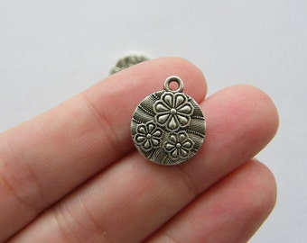 8 Flower charms antique silver tone F123