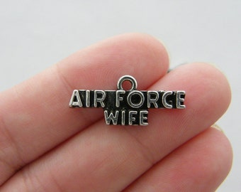 6 Air Force wife charm antique silver tone G34