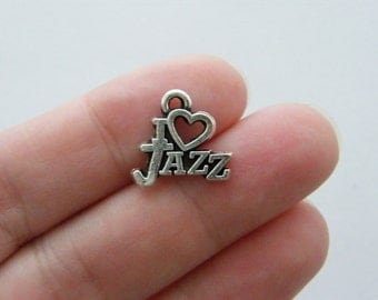 10 I love Jazz charms antique silver tone MN59