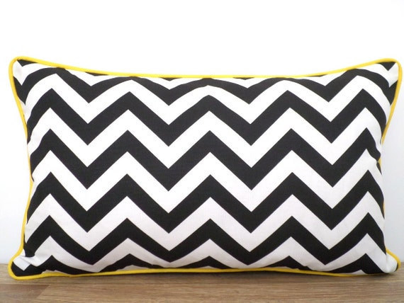 Black chevron pillow cover, black and white pillow case dorm room, geometric cushion for arm chair, black and yellow lumbar cover