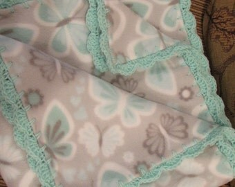 Butterflies in Turquoise and Gray Fleece Throw Blanket - Turquoise, Gray and White with Crochet Edging