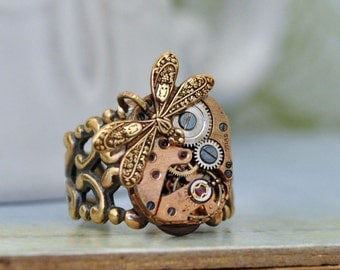 steampunk ring TINY TIME TRAVELER vintage gold tone watch movement ring with tiny dragonfly
