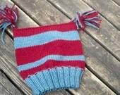 Unisex Double Tasseled Striped Wool Hat
