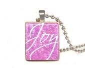 Joy Purple - Scrabble Tile Necklace - Free Necklace Chain Included