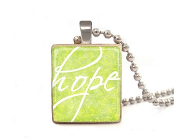 Hope Necklace | Green Hope Pendant | Inspirational Necklace | Sympathy Gift | Hope Charm | Adoption Gift | Miscarriage Gift | Game Piece