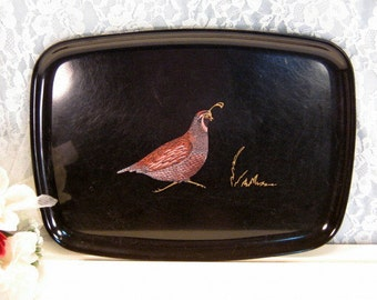 Vintage Couroc of California Desert Quail Serving Tray, 1960s Mid Century Barware Collectible, Vintage Kitchen Serving Tray Made in USA