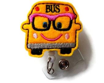 Bessie the Bus - Retractable ID Badge Reel - Name Badge Holder - Badge Reel - School Bus Badge Holder - Bus Driver Badge Clip - Felt Badge