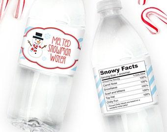 Melted Snowman Water - 100% waterproof water bottle labels