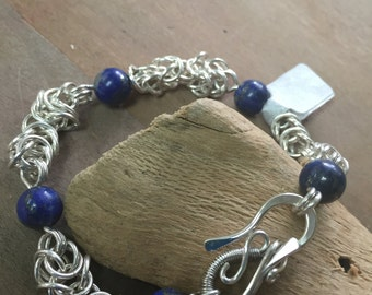 Lapis and Sterling Silver Bzantine Link Hand Forged Bracelet