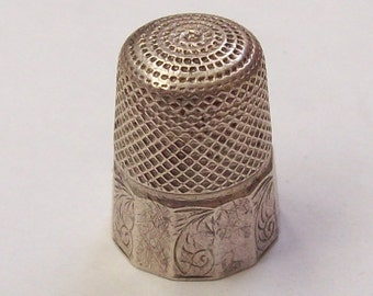 1899 Sterling Silver Thimble English Chester Victorian England