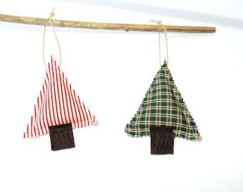 2 Christmas pine tree sachets, organic balsam pine sachets, set of two Christmas ornaments, gift for her under 15, red green, hanging sachet