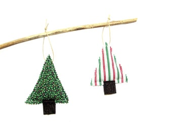 Balsam pine sachet set, scented ornament, Christmas balsam trees, scented sachet, cinnamon chips, winter home decor