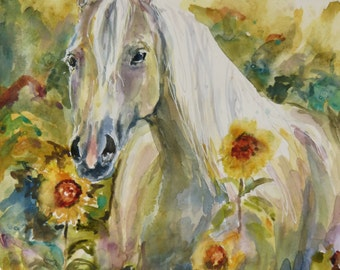 Watercolor Horse in Sunflowers Original Painting by Maure Bausch