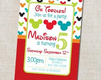 Mickey Birthday Party invitation Custom Printable