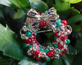Vintage Christmas Wreath Pin