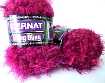 Bernat Bling Bling Yarn Cabernet Crimson - Raspberry / Fuchsia