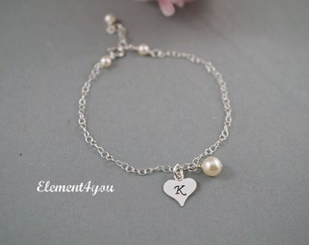 Bridesmaid Initial bracelet, Bridal party gift, Monogrammed heart charm, Sterling silver jewelry, Personalized flower girl child  bracelet