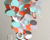 Baby Mobile in Orange, Grey, Turquoise and White, OR Customized colors to fit your nursery