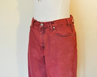 "Red Mens Sz 32 Levi's Denim SHORTS - Scarlet Red Dyed Denim Vintage Levi's Silver Jean Shorts - Adult Mens Size 32"" Waist"