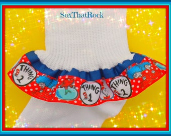 Dr. Seuss Thing One and Thing Two inspired girls Ruffle Socks - you pick size and top ribbon color - handmade - custom