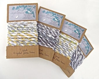 recycled fabric twine - 12 feet gray and yellow, white