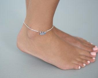 Rhinestone Anklet Bracelet with I do something blue accent