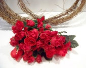 Vintage Red Silk Roses 19 Stems Floral Arranging Craft Supplies