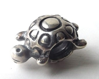 discontinued authentic genuine pandora charm 9.25 sterling silver turtle shell cute animal bead accessory accessories bracelet woodland old