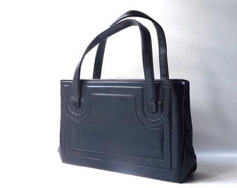 vintage 1950's navy blue faux leather tote satchel handbag purse gold metal frame paisley womens fashion mid century modern retro rectangle