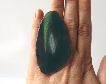 oversized teal green agate ring osfa statement cocktail geode fashion style unique large xl big adjustable band white crystal ameba neutral