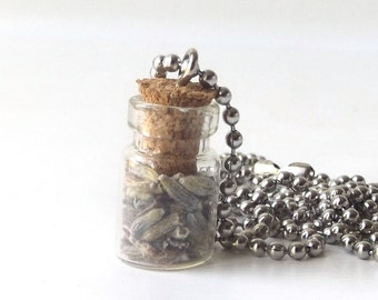 """miniature glass bottle necklace fresh lavender flower buds aromatherapy 24"""" silver ball chain vial w/ cork mini small jewelry nature natural"""