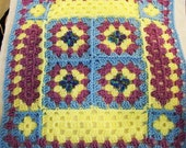 American Girl 18 inch Doll size, Crochet Granny Square Throw Afghan in pastel blue, yellow and orchid (purple)