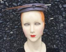 1950s Grey cocktail hat - multi-tone grey - 50s grey wool hat