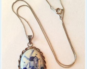 Vintage Delft Cameo Necklace, Signed, Intial, Makers Mark, Plateelbakkerij Schoonhoven, Netherlands, 1940's 1960's