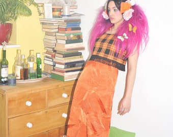 Orange crinkle maxi skirt high-waisted fitted 1970's style o.o.a.k handmade original unique bold size S UK 10