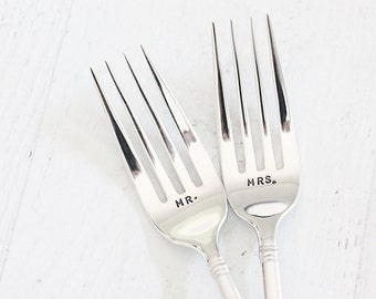 Mr  Mrs Forks: Wedding Table Setting Hand Stamped Wedding Forks. Mrs. Mrs. Mr. Mr. Unique Engagement gift under 50