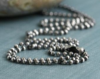 All Lengths 2mm Sterling Silver Ball Necklace Bead Chain For Charms Oxidized or Bright,  SOLID .925 Chain For Pendant Charm