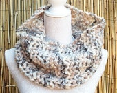 SALE - Hand Knit Scarf in Oatmeal, Super Chunky Loop Scarf, Knitted Infinity Scarf, Hand Knitted Scarf