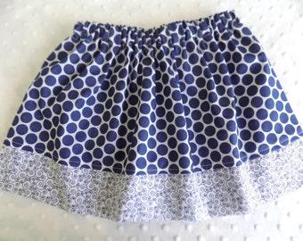 Navy Blue Polka Dot Skirt