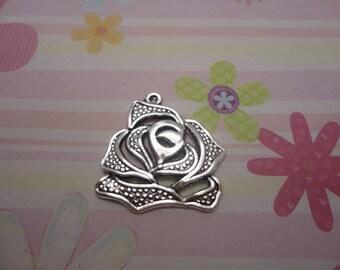 10pcs antique silver flower findings 28mmx27mm