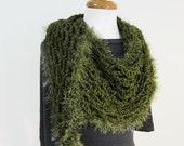 Olive Green Shawl - Chunky Crochet Scarf - Shoulder Wrap