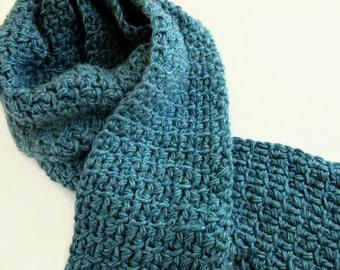Mens Blue Scarf - Hand knit - Crochet Scarves - Mens Gift Idea