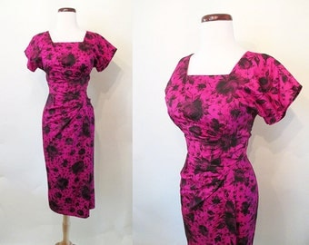 "Stunning 1950's Fuchsia Floral Print Cocktail Party Dress by ""Spector and Shanler of New York"" Rockabilly VLV Pinup Hourglass Size-Medium"